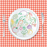 Vegie tablecloth Stock Images