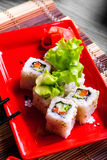 Vegitable roll on red plate Royalty Free Stock Image