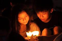 Veglia del Tiananmen a Hong Kong Fotografia Stock