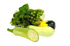 Vegtable marrows. Three vegetable marrows fenel and green leaf Stock Images