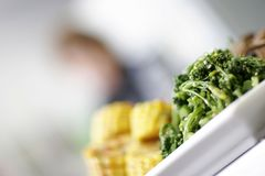 Vegtable plate. A freshly cooked plate of green vegetables with blurred corn in the background royalty free stock photo