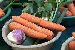 Vegtables with carrots at market Stock Photo