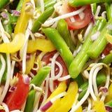Vegtables sallad med tomaten, bönor, gul peppar, böngroddar Royaltyfria Foton