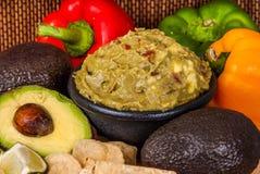 Vegtables sano e guacamole Fotografie Stock Libere da Diritti