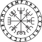 Vegvisir,古老冰岛语北欧海盗不可思议的航海指南针与斯堪的纳维亚诗歌的 库存照片