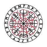 Vegvisir,古老冰岛语北欧海盗不可思议的航海指南针与斯堪的纳维亚诗歌的 免版税库存图片