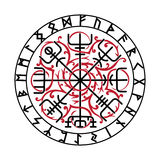Vegvisir, der magische Navigations-Kompass des alten Isländers Wikinger mit skandinavischen Runen Lizenzfreies Stockbild