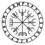 Vegvisir, el compás mágico de la navegación del islandés antiguo Vikingos con las runas escandinavas ilustración del vector