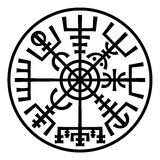 Vegvisir. The Magic Compass of Vikings. Runic Talisman (In The Ring). «Vegvisir». The Magic Navigation Compass of Vikings. Runescript from Ancient Medieval Stock Images