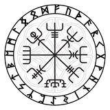 Vegvisir, the Magic Navigation Compass of ancient Icelandic Vikings with scandinavian runes. Isolated on white, vector illustration vector illustration