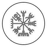 Vegvisir runic compass galdrastav Navigation compass symbol icon outline black color vector in circle round illustration flat. Style simple image vector illustration