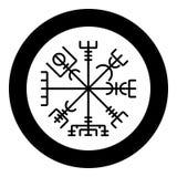 Vegvisir runic compass galdrastav Navigation compass symbol icon black color vector in circle round illustration flat style image. Vegvisir runic compass stock illustration