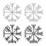 Vegvisir runic compass galdrastav Navigation compass symbol icon set grey black color illustration outline flat style simple image. Vegvisir runic compass stock illustration