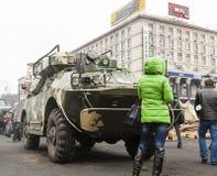 Vehículo blindado de transporte de personal en el Maidan imágenes de archivo libres de regalías