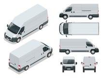Vehículo comercial Coche logístico Minivan del cargo en el fondo blanco Frente delantero, posterior, del lado, superior e isometr stock de ilustración