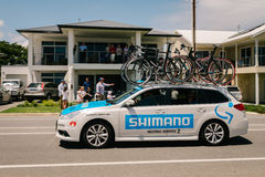 Vehículo de la ayuda en Santos Tour Down Under, enero de 2015 Imagenes de archivo