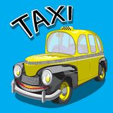 Vehículo de pasajeros del carácter del taxi amarillo Imagen del vector stock de ilustración