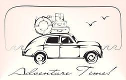 Vehículo del vintage con letras del tiempo del equipaje y de la aventura del viaje Ilustración del vector Imagen de archivo