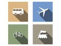 Vehículo e iconos planos del vector del transporte Fotografía de archivo