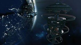 Vehículo espacial que se acerca a la estación espacial futurista 4K stock de ilustración