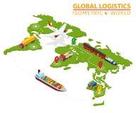 Vehículo isométrico logístico global Infographic Camión Van Logistics Service del cargo de la nave Cadena de las importaciones/ex ilustración del vector