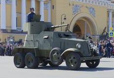 Vehículo ligero blindado BA-3 en el desfile en honor del día de la victoria St Petersburg Foto de archivo