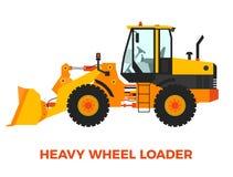 Vehículo pesado de la construcción del cargador de la rueda en un fondo blanco Imagen de archivo