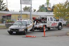 Vehículo policial analizado Foto de archivo
