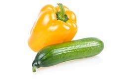 Vehículos amarillos de la paprika y del pepino Fotos de archivo