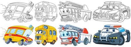 Vehículos de la historieta fijados libre illustration