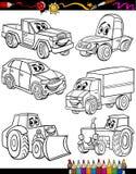 Vehículos de la historieta fijados para el libro de colorear Imagenes de archivo