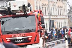 Vehículos del bombero en un evento nacional Imágenes de archivo libres de regalías