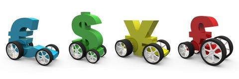 Vehículos del dinero en circulación ilustración del vector