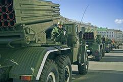 Vehículos del misil alineados Imágenes de archivo libres de regalías