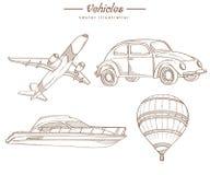 Vehículos dibujados mano - estilo del vintage foto de archivo libre de regalías