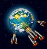 Vehículos espaciales extranjeros que atacan la tierra Imagenes de archivo