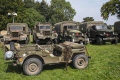 Vehículos militares americanos de la Segunda Guerra Mundial Imagen de archivo libre de regalías