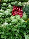Vehículos orgánicos frescos en mercado Imagen de archivo libre de regalías