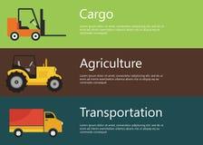 Vehículos planos modernos y creativos del diseño, de la logística y de la agricultura Camión de la carretilla elevadora, del trac Fotografía de archivo libre de regalías