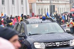 Vehículos policiales en un evento nacional Fotos de archivo