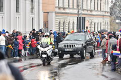 Vehículos policiales en un evento nacional Fotografía de archivo libre de regalías