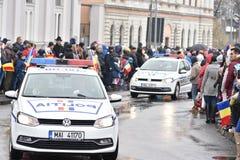 Vehículos policiales en un evento nacional Fotos de archivo libres de regalías