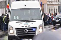 Vehículos policiales en un evento nacional Imágenes de archivo libres de regalías