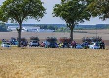 Vehículos técnicos - Tour de France 2017 imágenes de archivo libres de regalías
