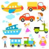 Vehículos y niños de la historieta Foto de archivo libre de regalías