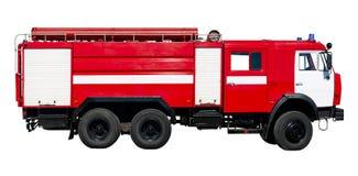 Veh?culo de rescate del fuego Coche rojo grande del rescate de Rusia, aislado en blanco imagen de archivo