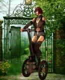 Vehículo de Steampunk con una mujer Imagen de archivo libre de regalías
