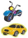 Vehículo y motocicleta Imagen de archivo