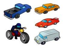 Vehículos de la historieta fijados Imagen de archivo libre de regalías