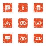 Vehemence icons set, grunge style. Vehemence icons set. Grunge set of 9 vehemence vector icons for web isolated on white background Stock Images